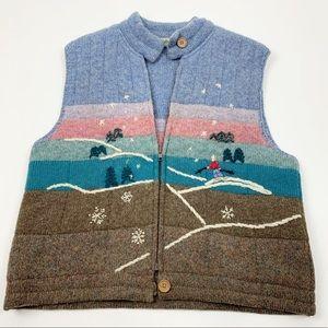 L.L.Bean Knit Zip Graphic Puffer Wool Vest Vintage